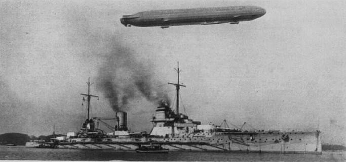 Picture of German Battlecruiser SMS Seydlitz with a Zeppelin overhead