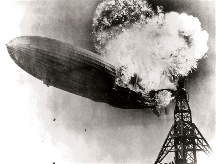 Picture of Zeppelin LZ 129 Hindenburg Catching Fire